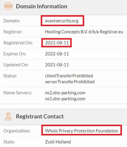 avastsecurity scam whois
