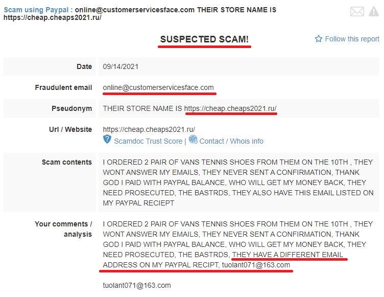 online@customerservicesface.com reported as scam