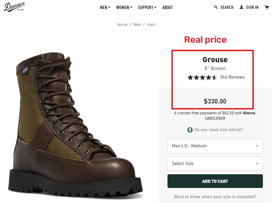 danner grouse real price