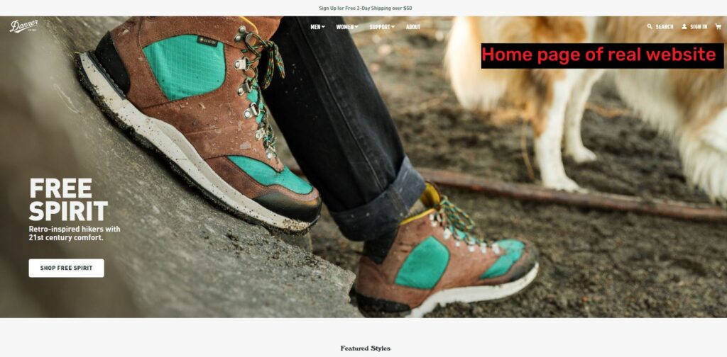 real danner website home page