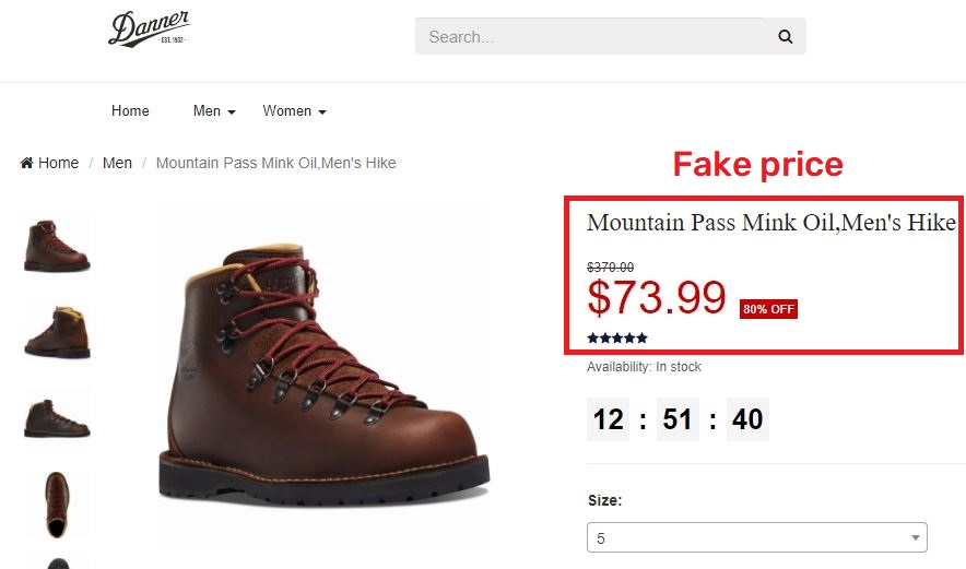 dannerofficial scam fake price 1