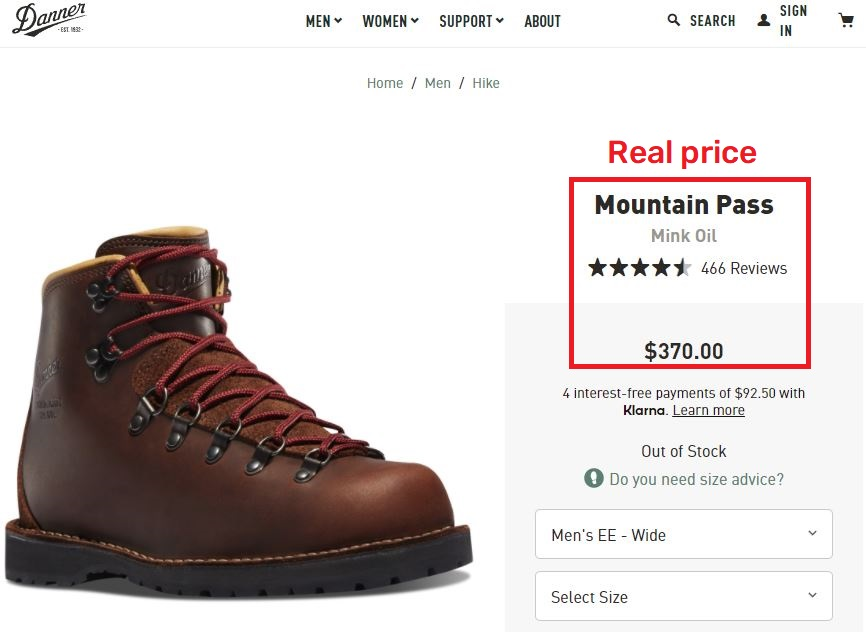 danner mountain boot real price
