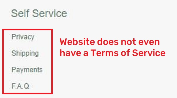 dannerofficial scam missing terms of service